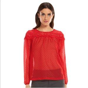 ELLE Clip Dot Lace Blouse Red
